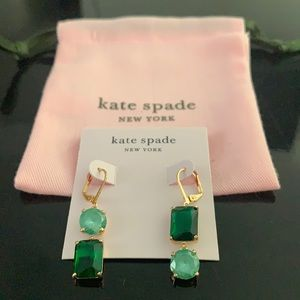 NWT Kate Spade mismatch green drop earrings
